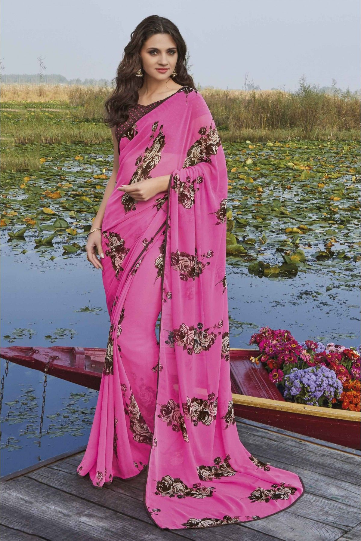 0ba17e5d6a47bd Pink Colour Georgette Fabric Casual Wear Printed Saree Comes With Matching  Blouse. This Saree Is