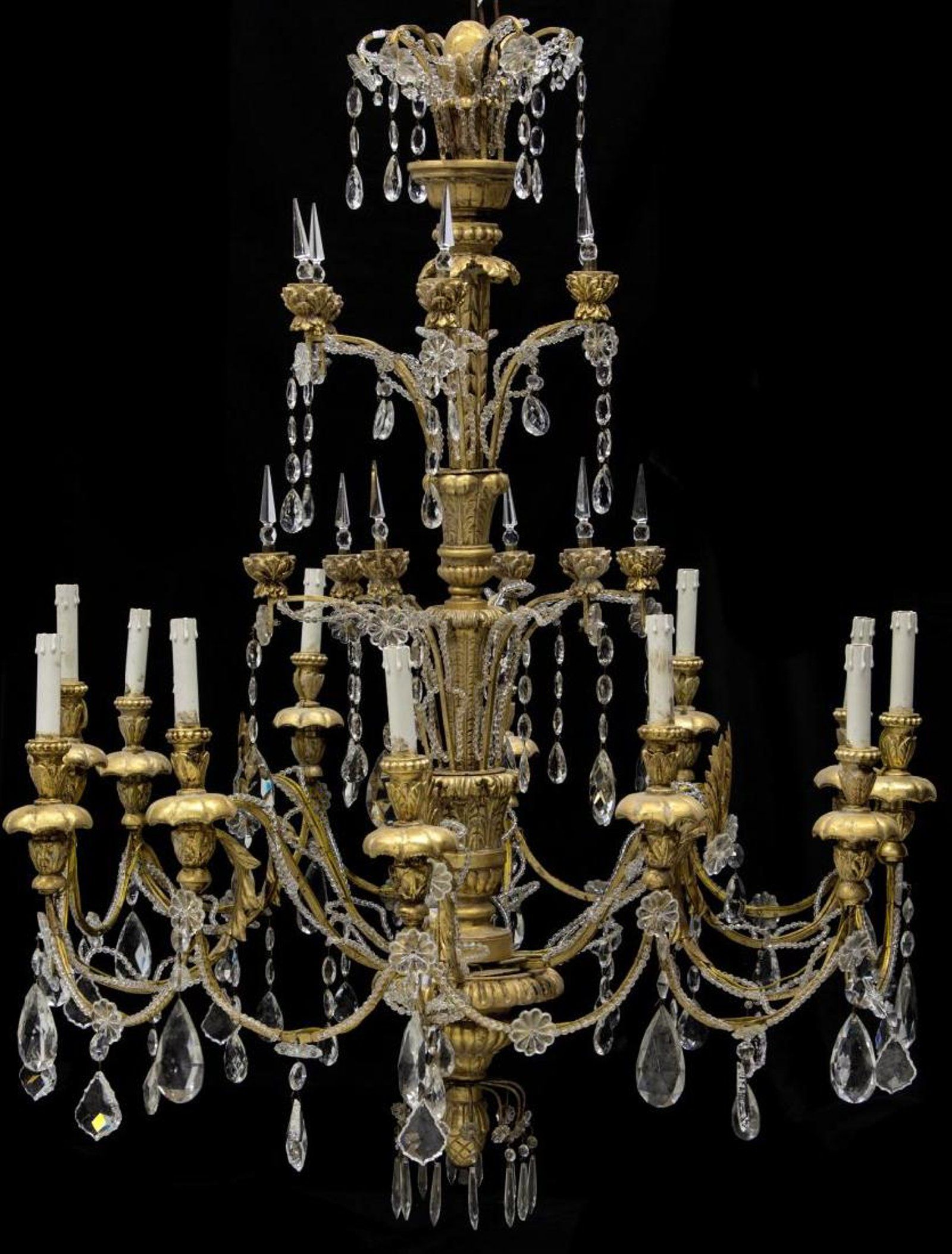 Monumental Italian Gilt 12 Light Church Chandelier 19th Chandelier Faux Candles Light