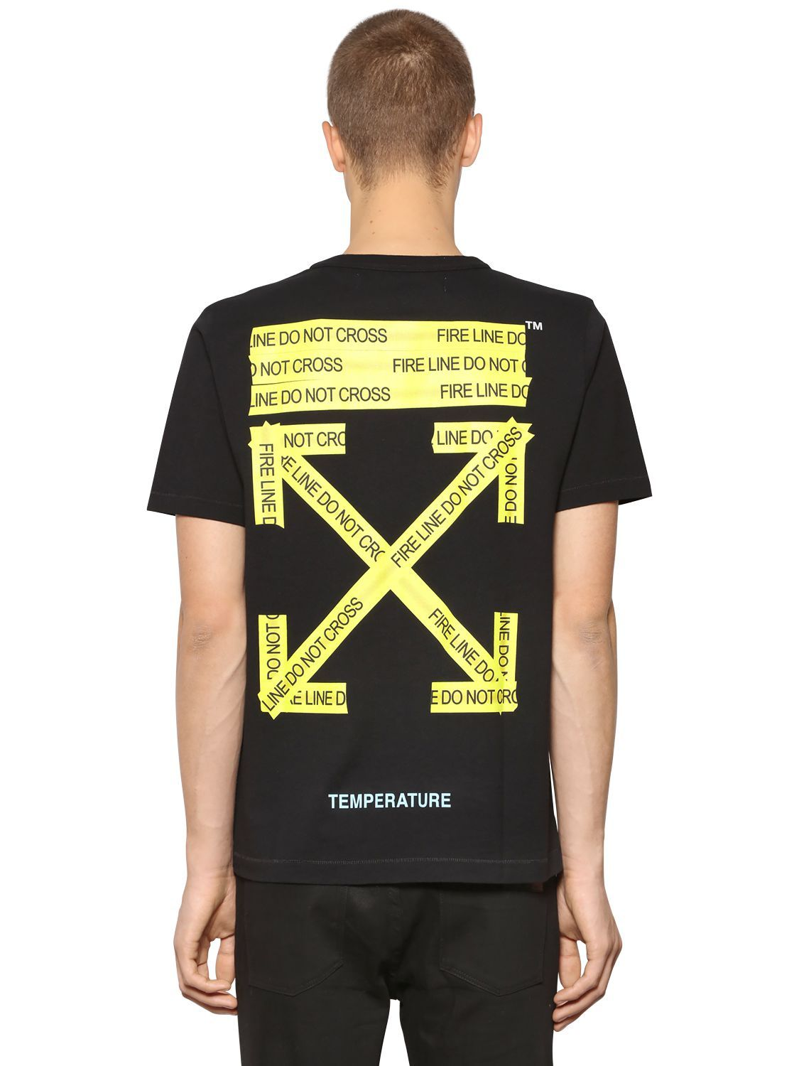 0a7c42795c2c OFF-WHITE SLIM FIT FIRE LINE TAPE JERSEY T-SHIRT.  off-white  cloth ...