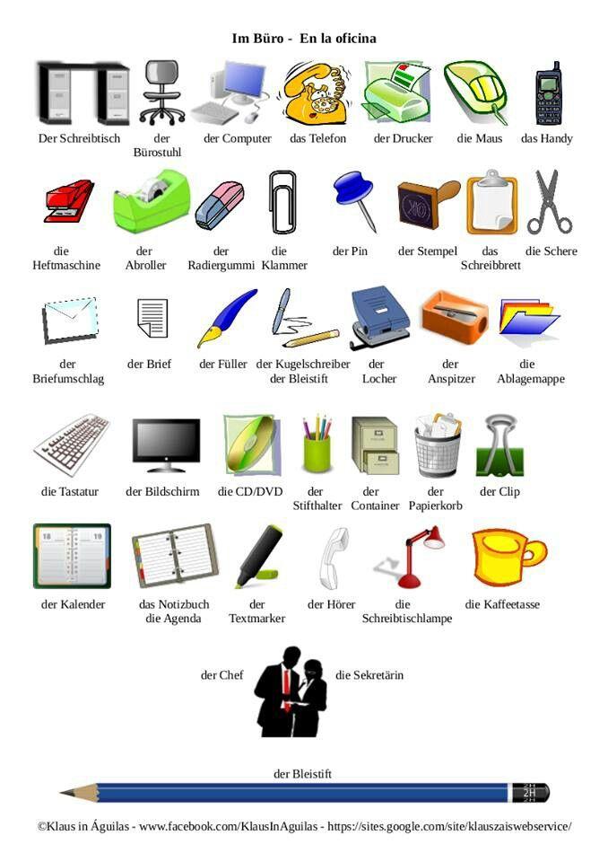 oggetti dell 39 ufficio vocabolario categorie percettive pinterest german learn german and. Black Bedroom Furniture Sets. Home Design Ideas