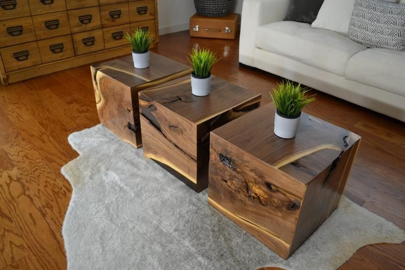 Wood Cube Accent Table Coffee Table Etsy In 2020 Cube Coffee Table Coffee Table Table #walnut #furniture #living #room