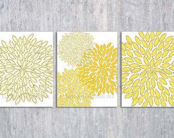 Nice Yellow Gray Wall Art Printable Files Yellow Gray Geometric