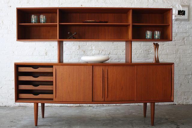 Danish Credenza Hutch : H p hansen danish mid century modern teak curved front credenza