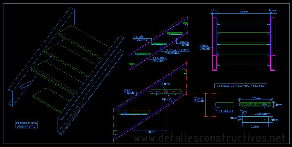 Escalera met lica con pelda os de madera 3 detalles for Escaleras metalicas planos