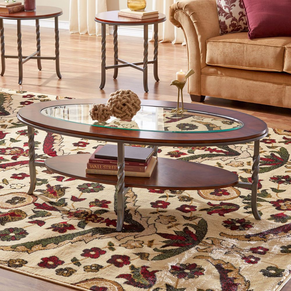 coffee table set 3 pc cherry wood glass top 2 end tables