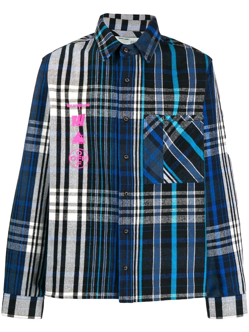 599 0 Off White Tops Printed Shirt Offwhite Tops Clothing Fashion Blue Plaid Shirt Alternative Fashion [ 1334 x 1000 Pixel ]