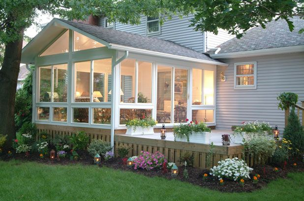 Sunrooms and decks on pinterest Two story sunroom