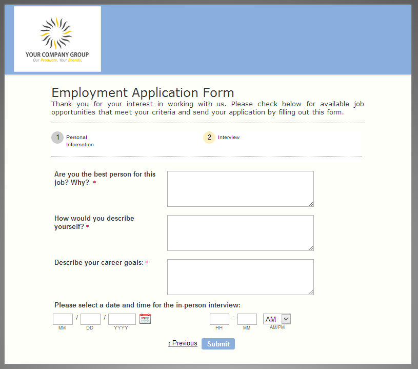 The Helpful Employment Application Form