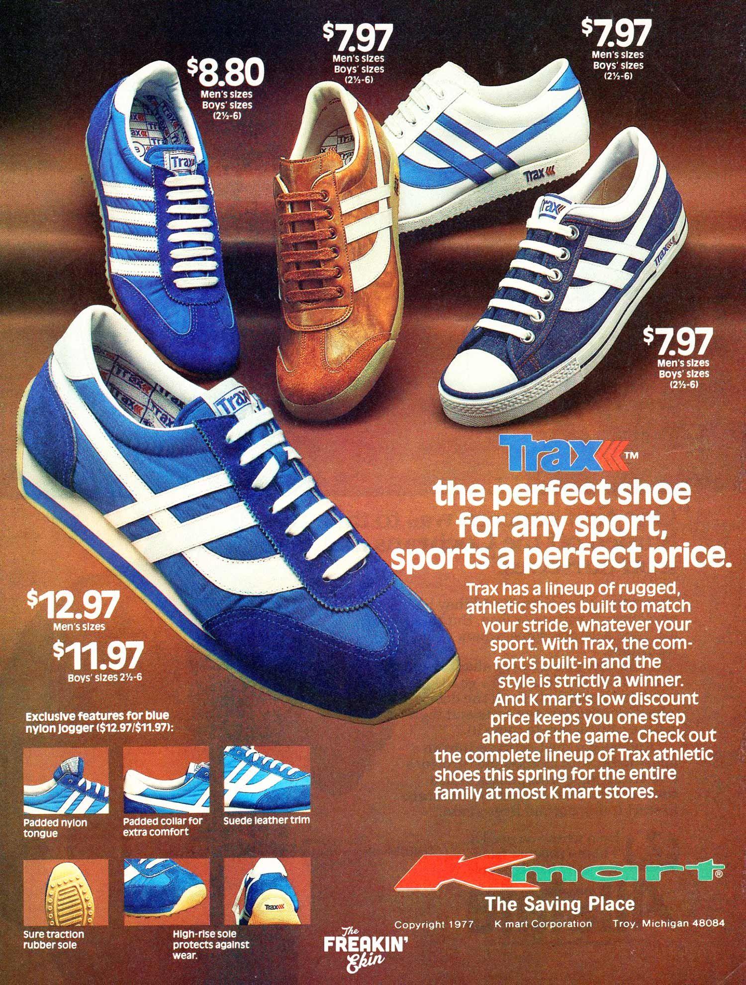 7f93b1b4a8d Kmart Trax 1977 vintage sneaker nylon joggers ad @ The Freakin' Ekin ...
