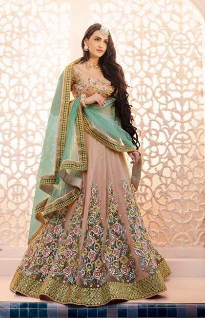 Light Color Lehenga Choli Peach Wedding Wear Designer