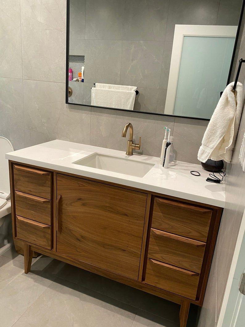 48 Mid Century Style Bathroom Vanity Cabinet In Walnut Etsy Bathroom Vanity Cabinets 48 Inch Bathroom Vanity Custom Bathroom Vanity [ 1059 x 794 Pixel ]