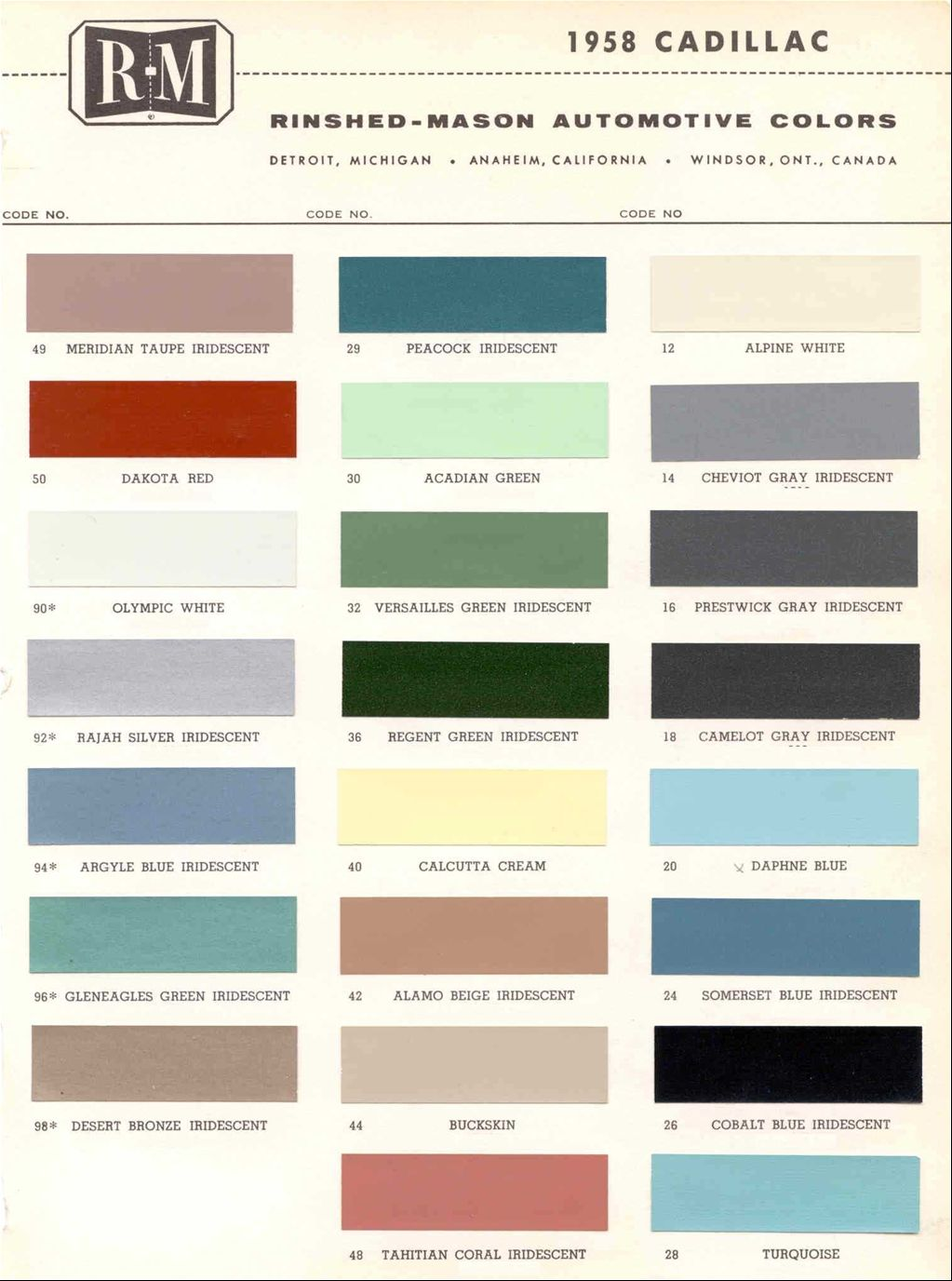 1958 cadillac colors paint pinterest cadillac and cars 1958 cadillac colors nvjuhfo Choice Image