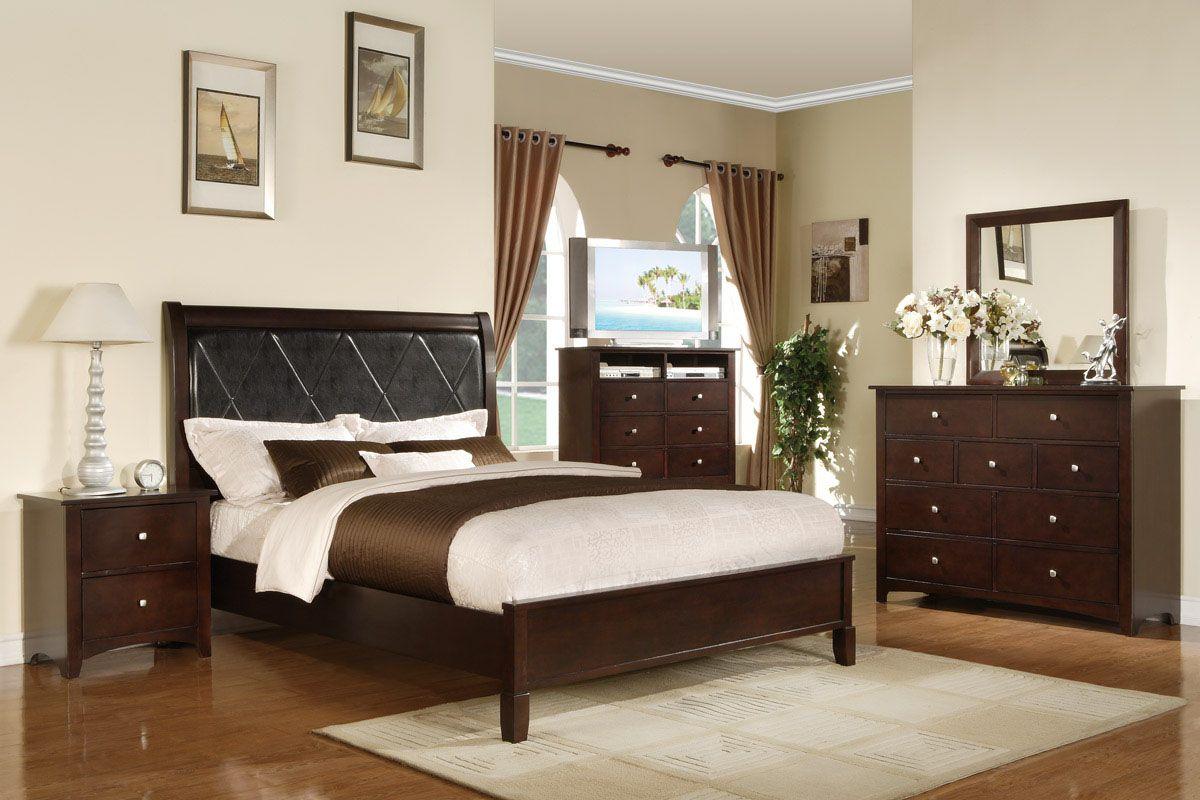 Furniture U0026 Design :: Bedroom Furniture :: Bedroom Sets :: Wood Bed Sets ::  Platform Bed Sets :: 5 Pc Philip II Collection Queen Espresso Finish Wood  Black ...