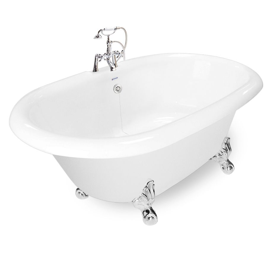 American bath factory in white acrylic clawfoot bathtub with back