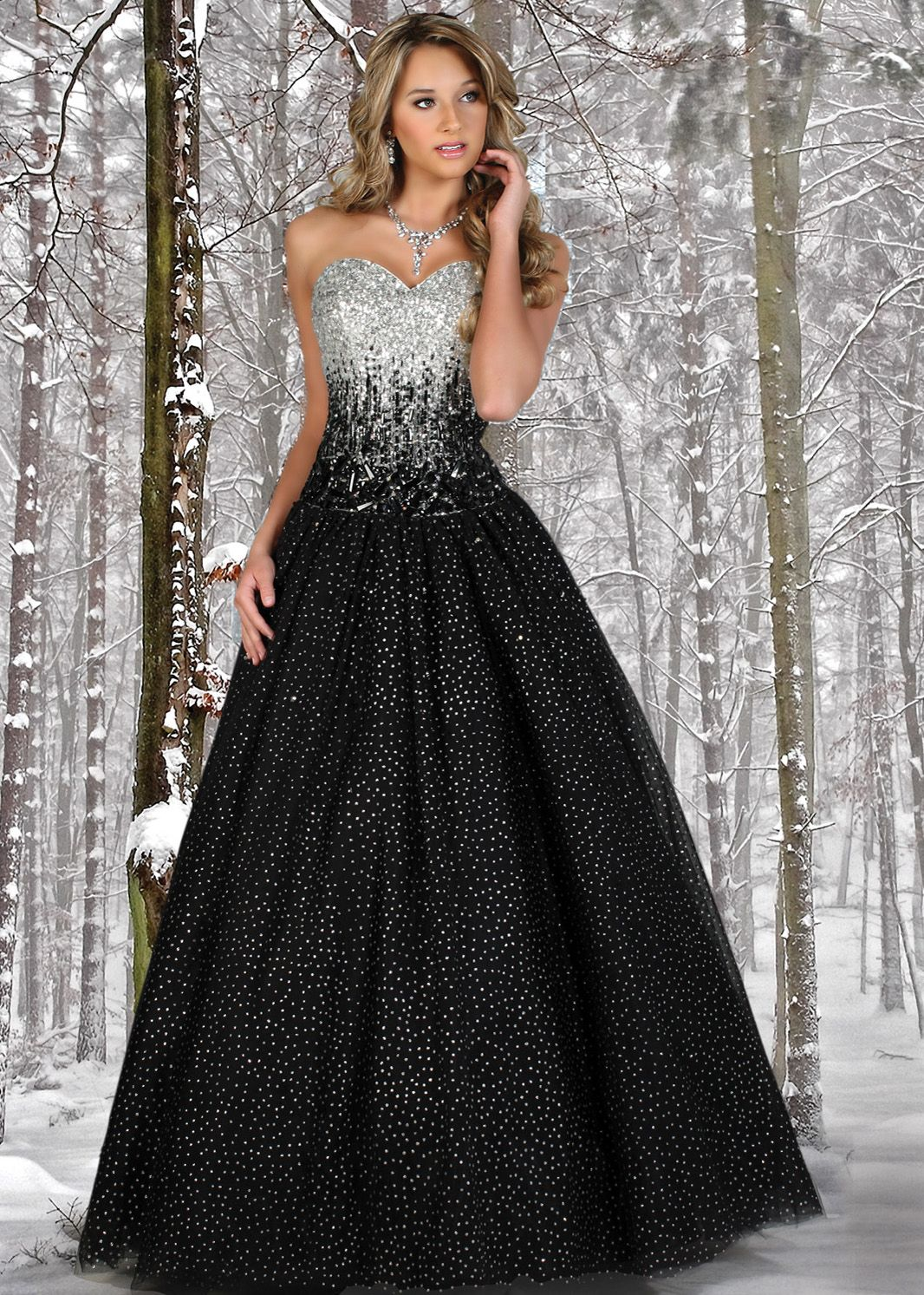 dress - Silver and black sweetheart prom dresses video