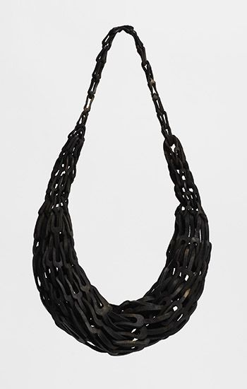 """""""Raw 1,"""" necklace in leather. 16 X 7 X 3"""""""