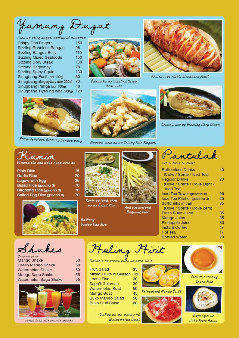 Filipino menu google search philippines filipino for Bar food la menu