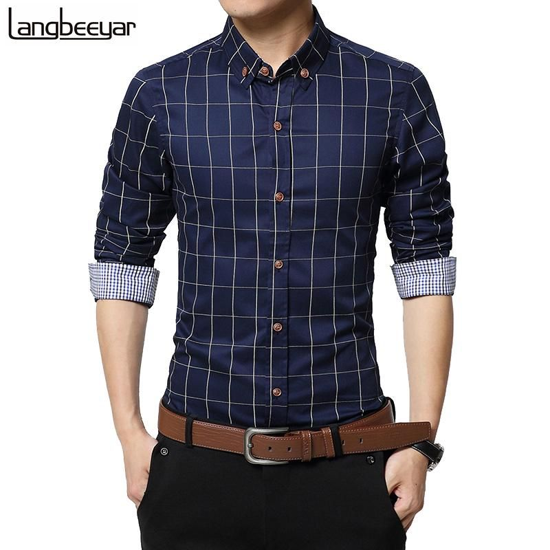 Mens Shirt Casual Jean Long Sleeve Business Casual Formal Body Slim Fit Fashion