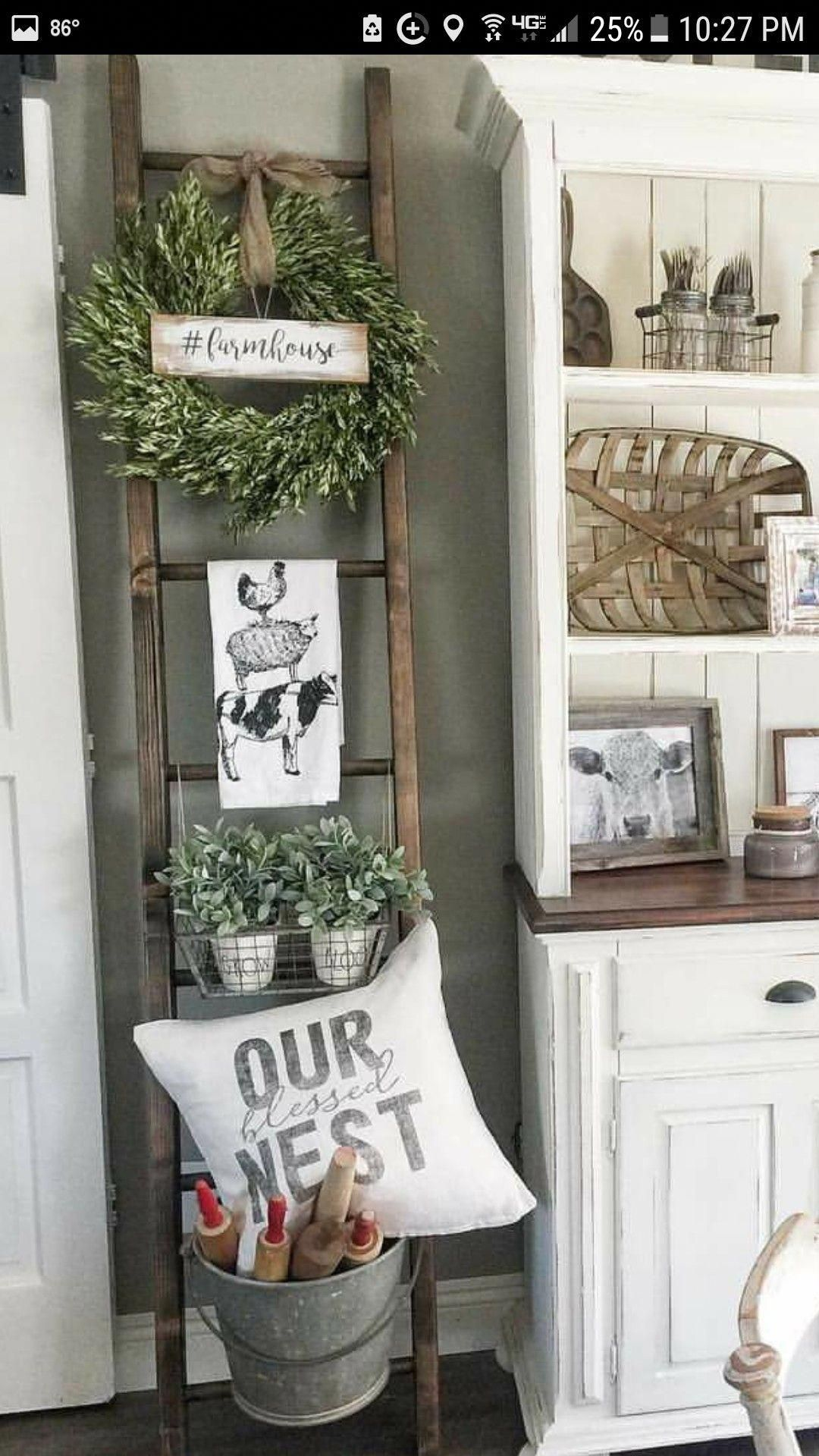 farmhouse ladder with our blessed next and farm cow towel ...