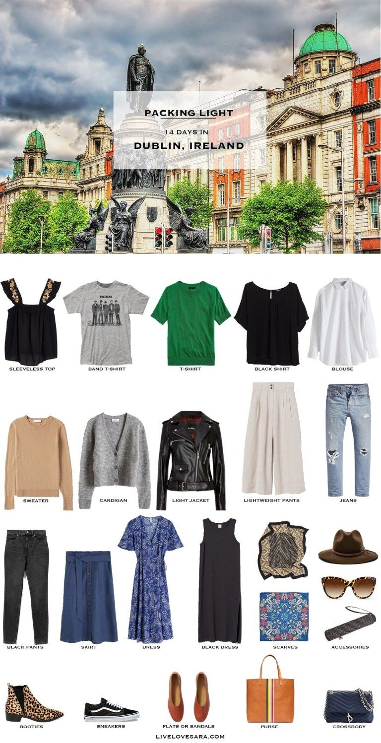 What to Pack for Dublin Ireland - Packing Light #travelwardrobesummer
