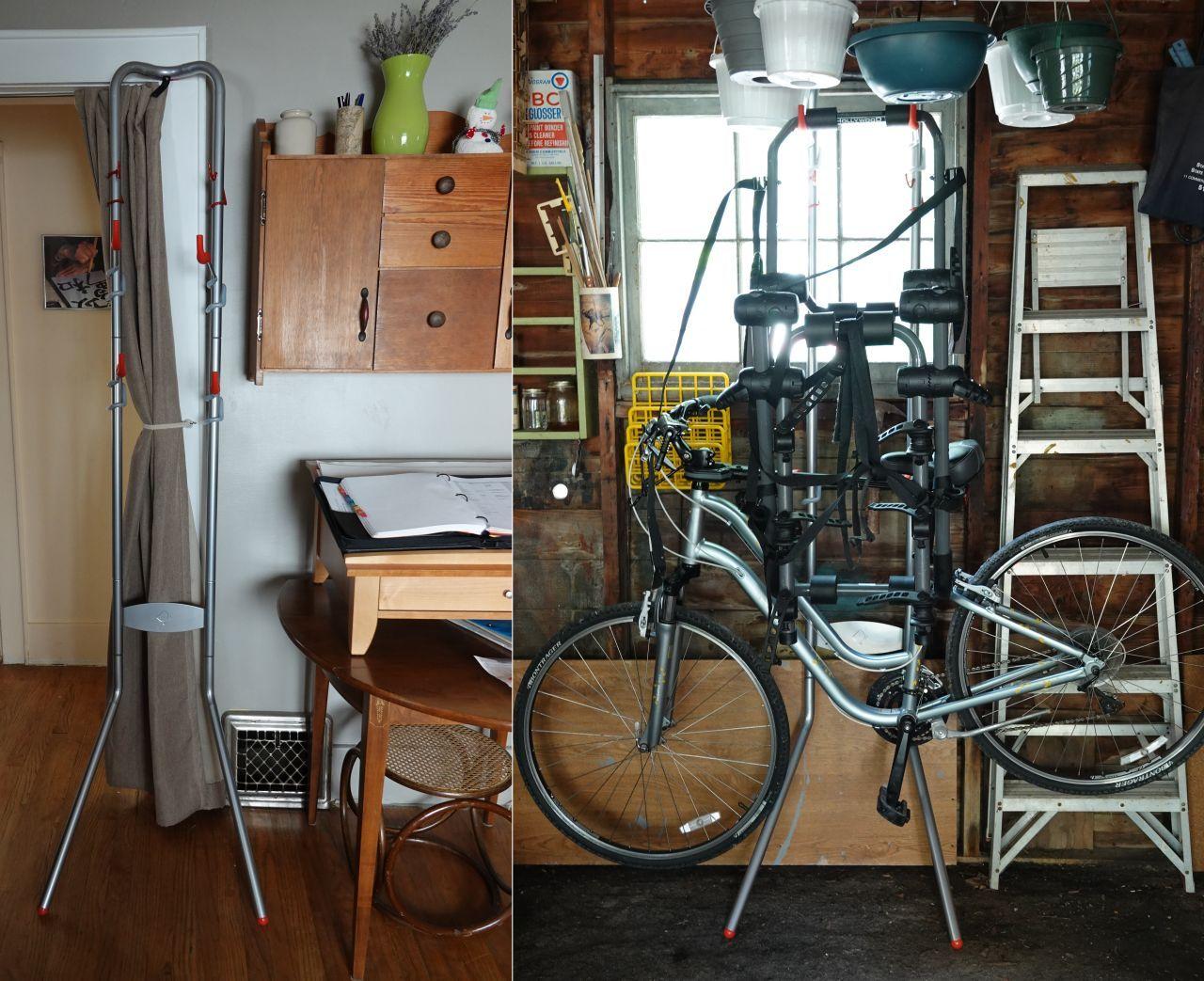 wonderful gravity based bike rack that both