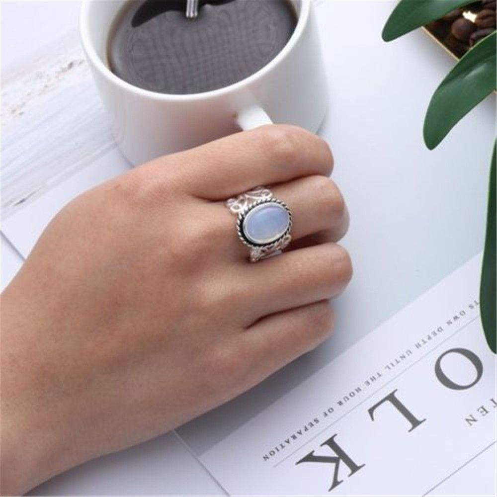 Jewelry women rainbow moonstone ring oval sterling silver natural