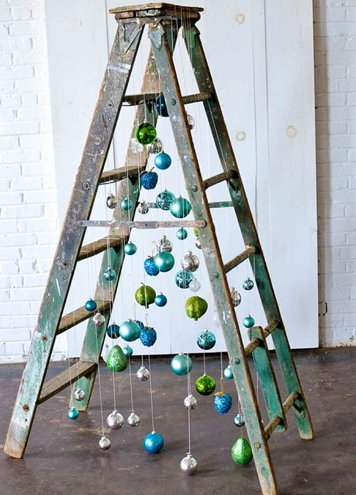 Fun and Funky Christmas Tree inspiration using a vintage wooden ladder from Paisley and Jade at Highpoint and Moore
