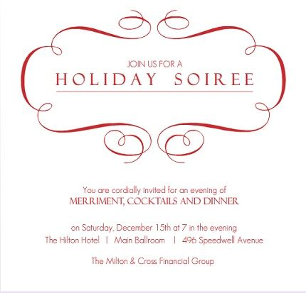 Elegant Filigree Business Holiday Party Invitation Typographie