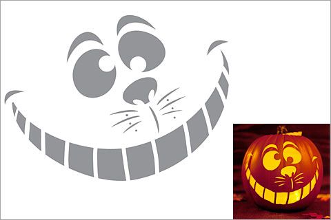 Cheshire Cat Pumpkin Stencil  Pumpkin Carving Stencils