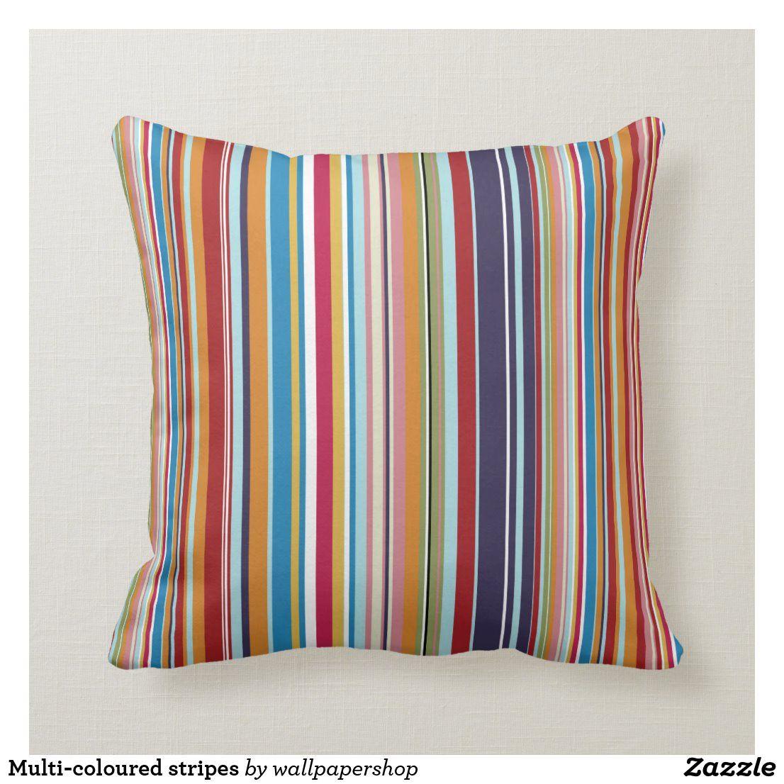 Multi Coloured Stripes Throw Pillow Zazzle Com In 2020 Throw Pillows Stripe Throw Pillow Patterned Throw Pillows