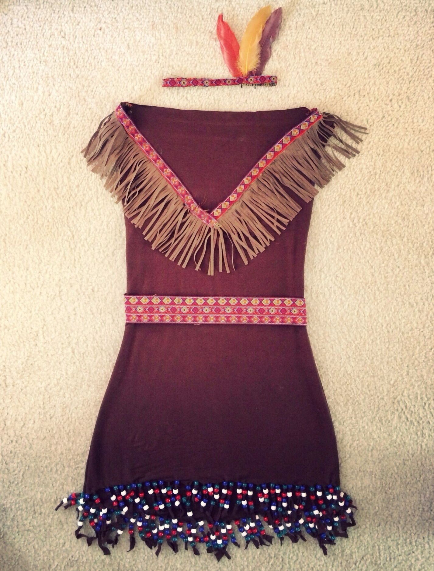 DIY Indian Costume! Fabric beading ribbons feathers and fringe from Joann Fabric. @Etsy & DIY Indian Costume! Fabric beading ribbons feathers and fringe ...