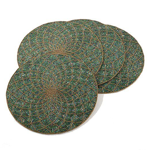Teal Beaded Design Placemat 15 Quot Round 4 Piece Set Gold Geometric Pattern Placemats Gold Geometric