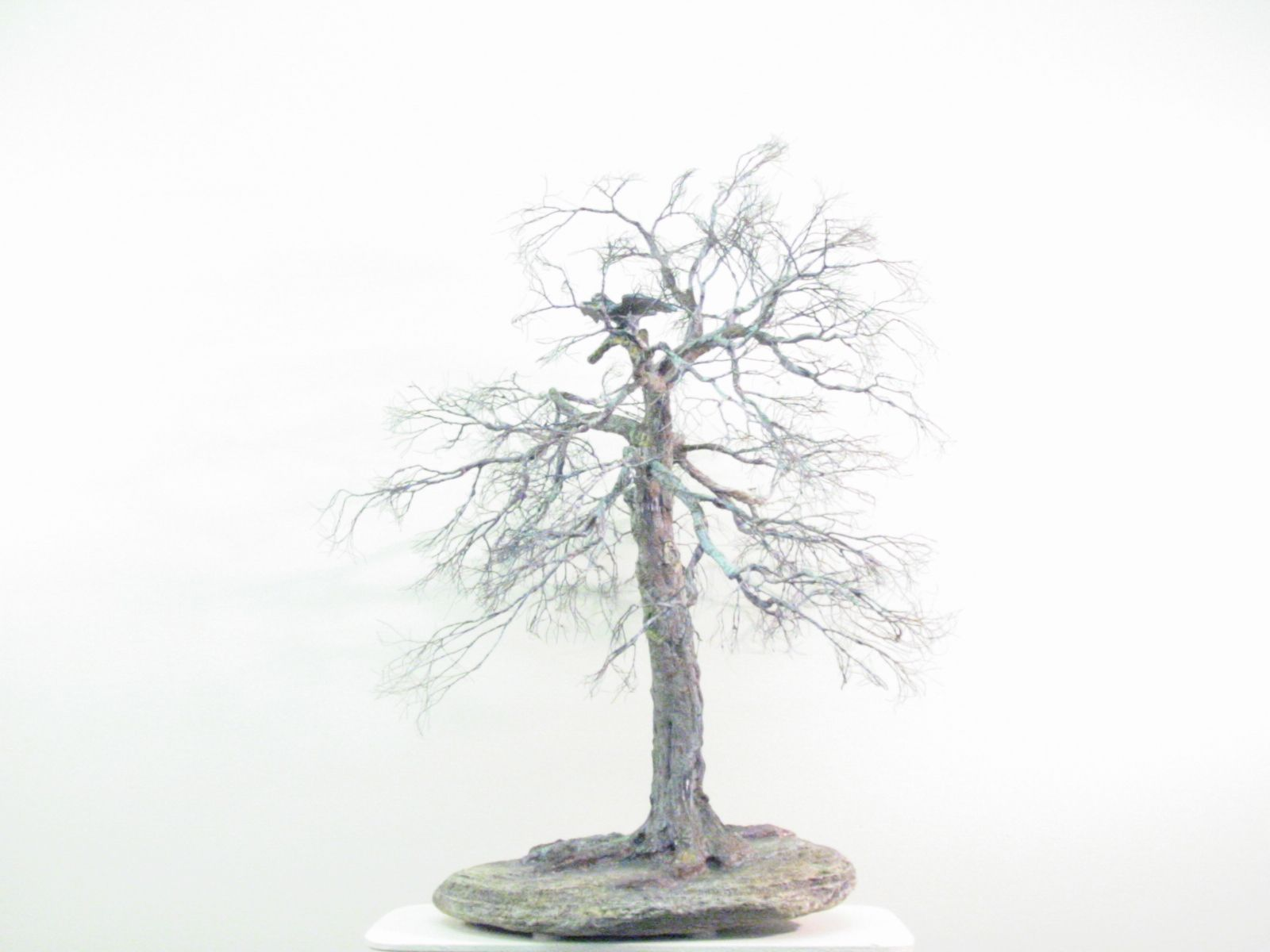 copper wire tree - bonsai style - natural rock