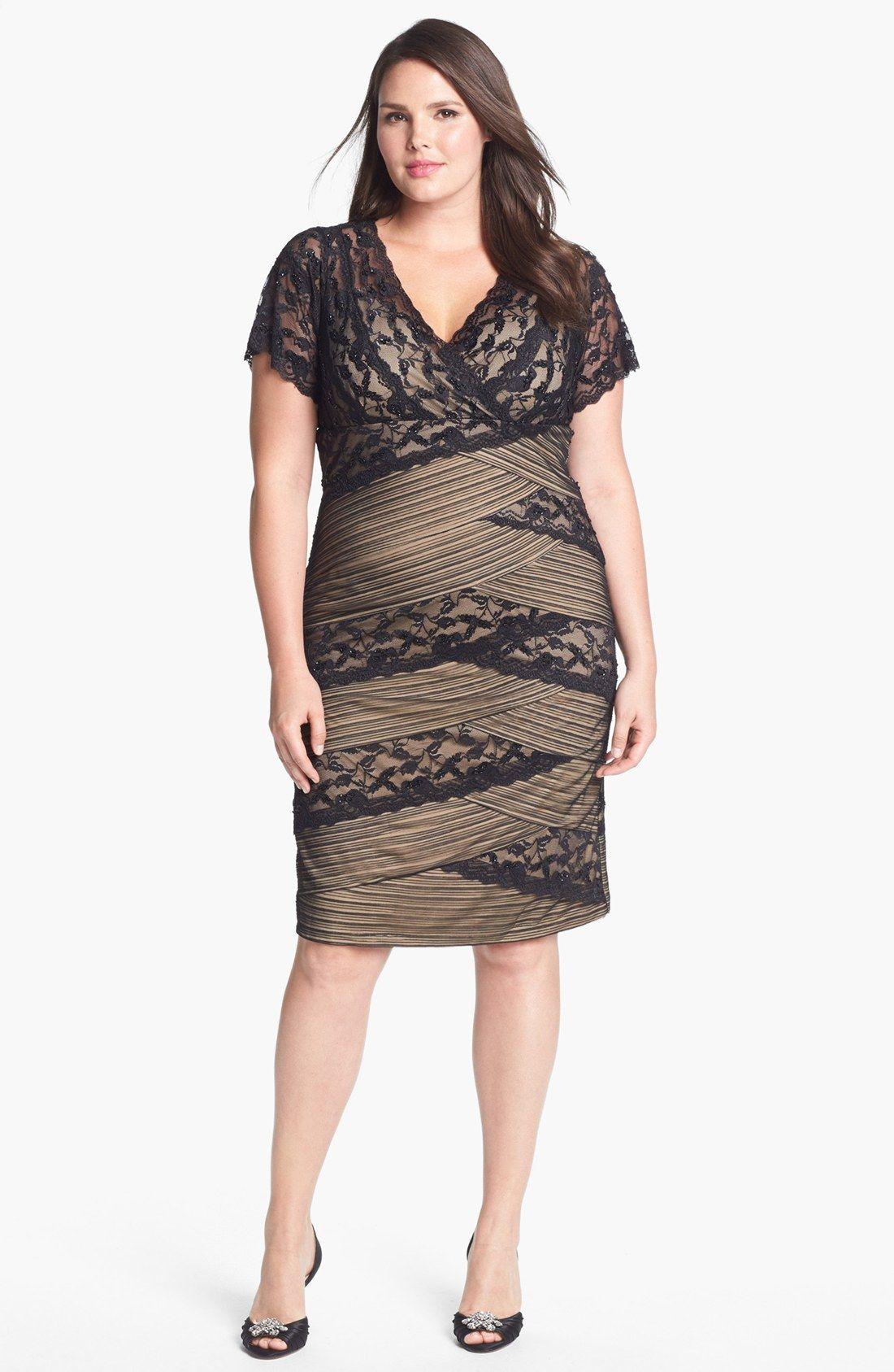 MARINA Mixed Lace Sheath Dress (Plus Size) | Nordstrom ...