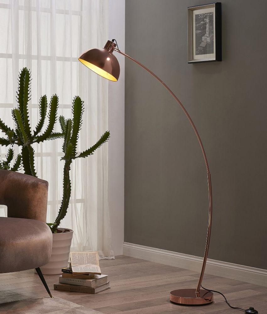 Gold Rose Curved Floor Lamp Indoor Industrial Lighting
