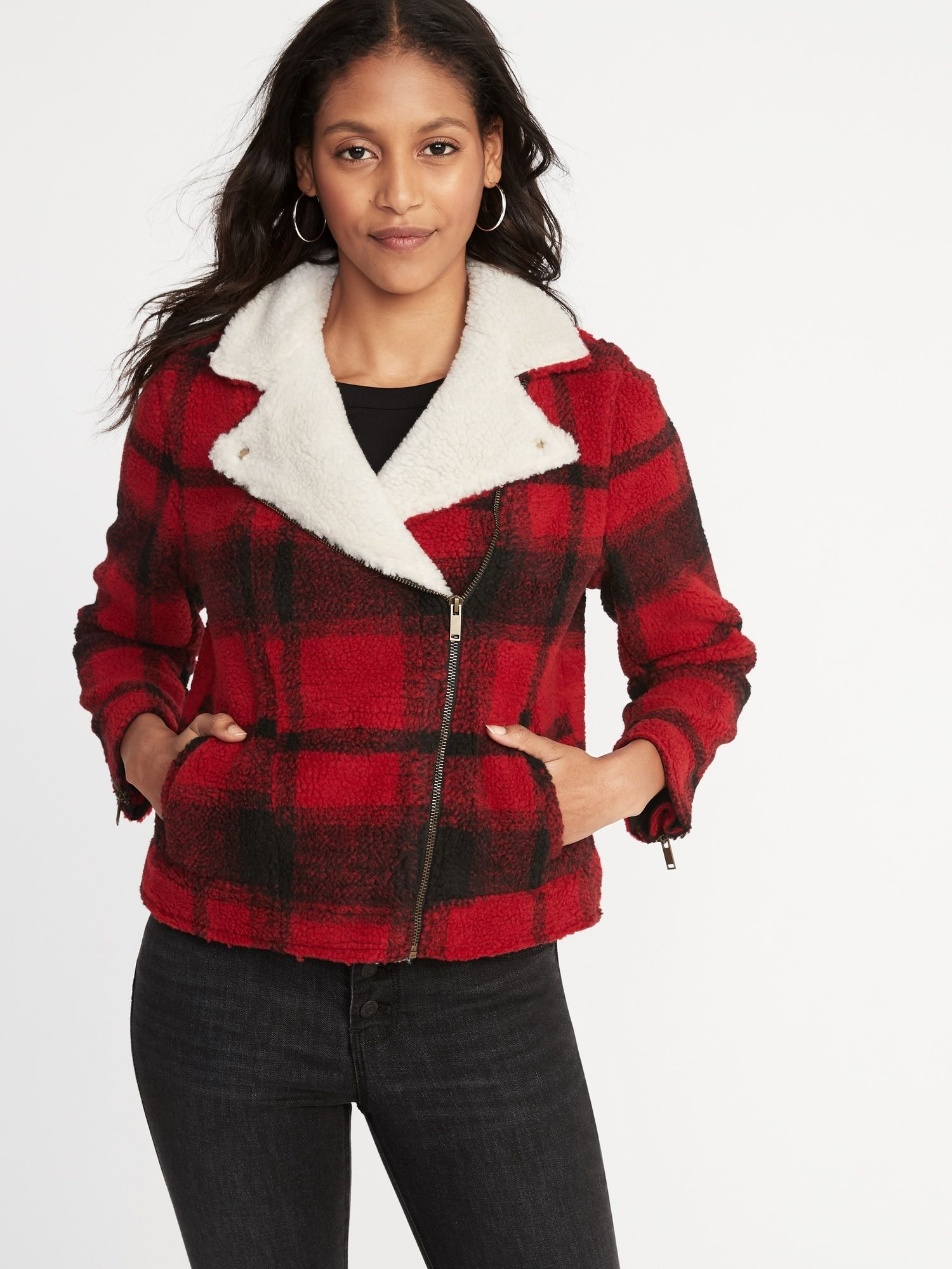 Plaid Sherpa Moto Jacket (With images) Fall fashion