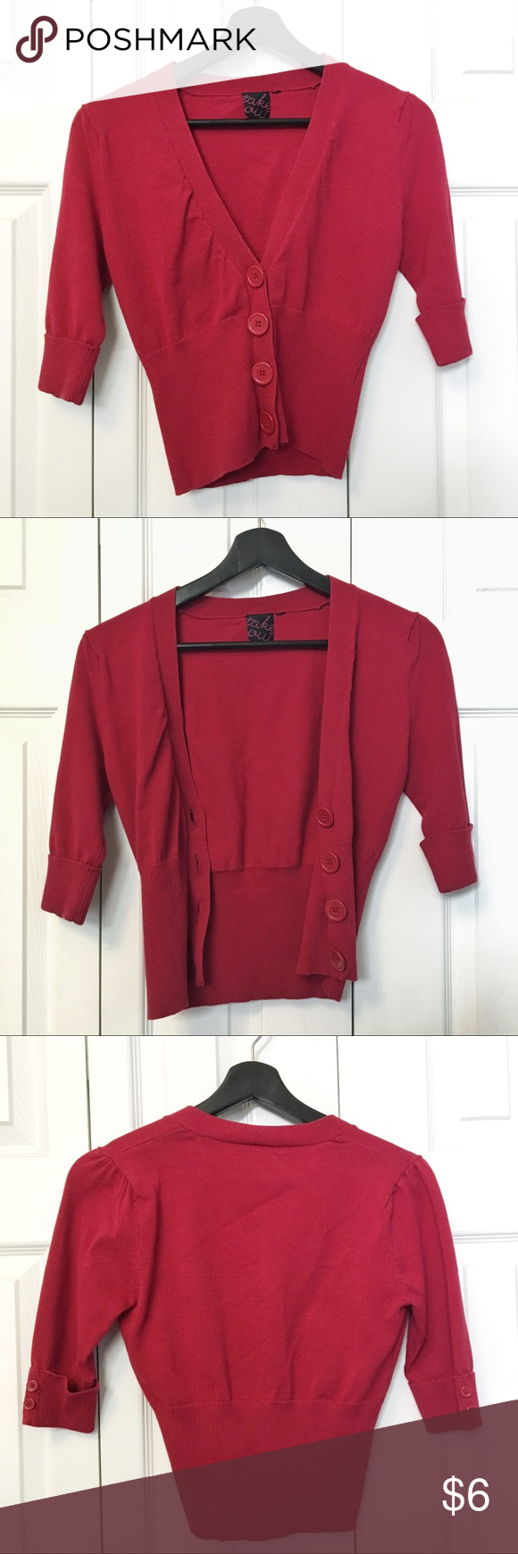 Red Crop Cardigan Sweater | Belly button, Flaws and Nice