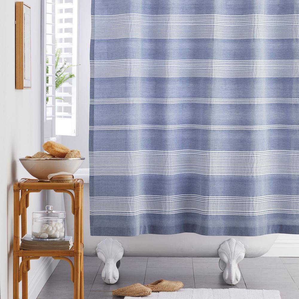 The Company Store Chambray Stripe 72 In Cotton Shower Curtain In