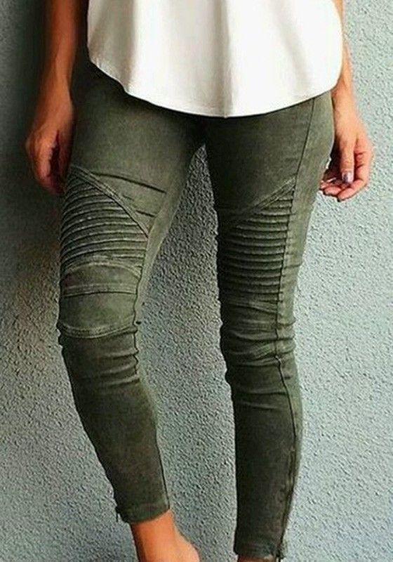 012d93519929 Jean pantalons uni slim élastique poches taille haute casual kaki vert femme