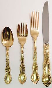 Rare Gorham Sterling Silver 925 GoldVermeil 4 Piece Setting in Golden Strasbourg.  7 Sets Available