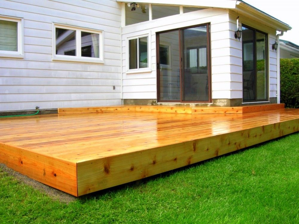 Edge flat to ground at end platform deck modernshed big for Outside decking material