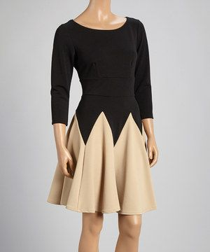 Black & Taupe Color Block Fit & Flare Dress by Danny & Nicole #zulilyfinds