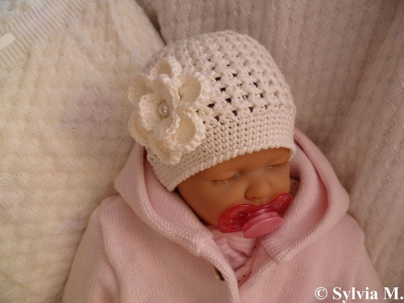 Babymütze Taufmütze Baumwolle Gehäkelt Neu Handarbeiten