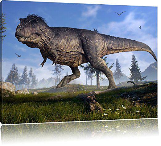 T-Rex Dinosaurier in der Natur, Format 60x40 auf Leinwand, XXL