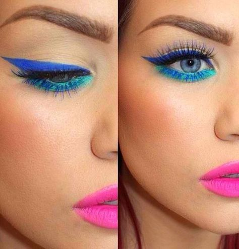 Ideas For Fashion 80s Makeup Lips In 2020 80s Eye Makeup Blue