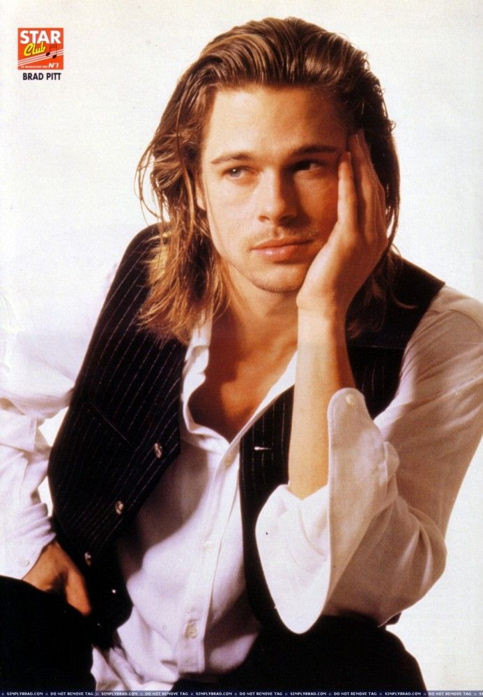 brad pitt mens with long hair pinterest m nner lange. Black Bedroom Furniture Sets. Home Design Ideas