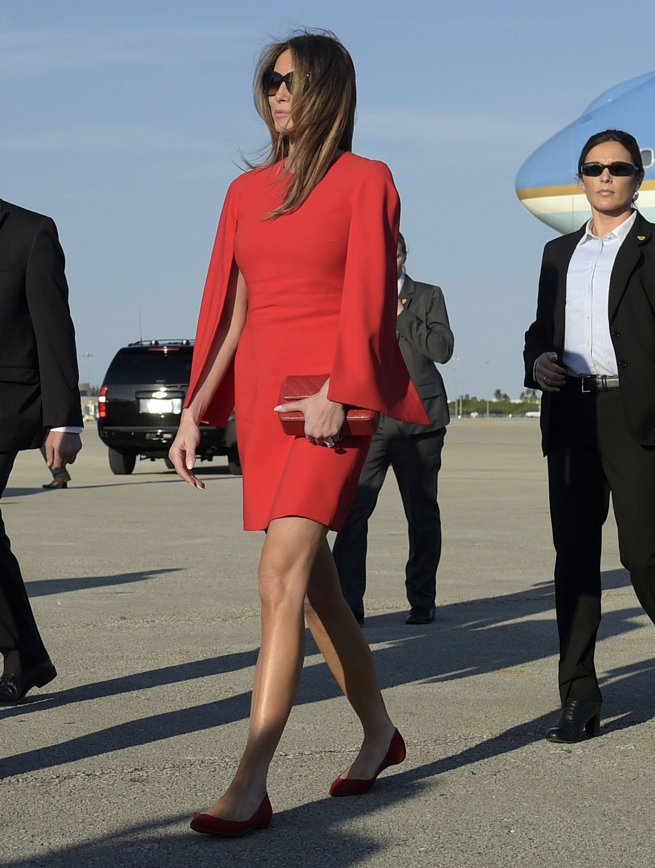 Melania Trump Wears Givenchy, Christian Louboutin, and Chanel