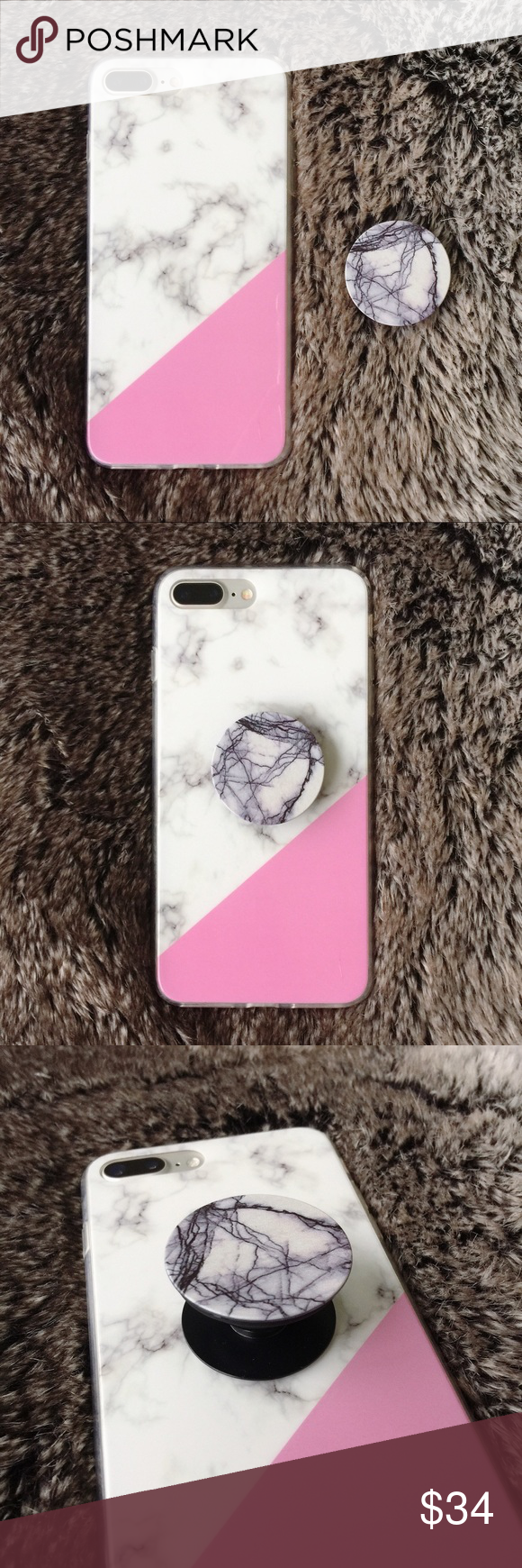 free shipping 4a429 d2105 ❗️LAST ONE❗️Marble iPhone 7 plus case + popsocket 💖BRAND NEW ...