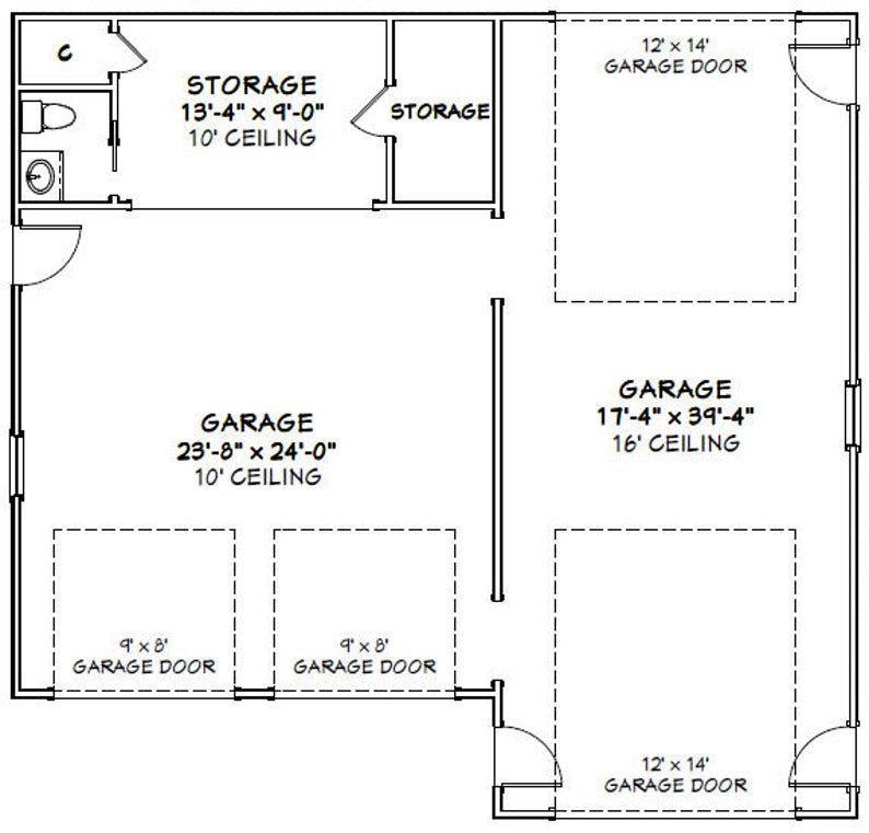 42x40 1 RV 2 Car Garage PDF Floor Plan 1,537 sq ft