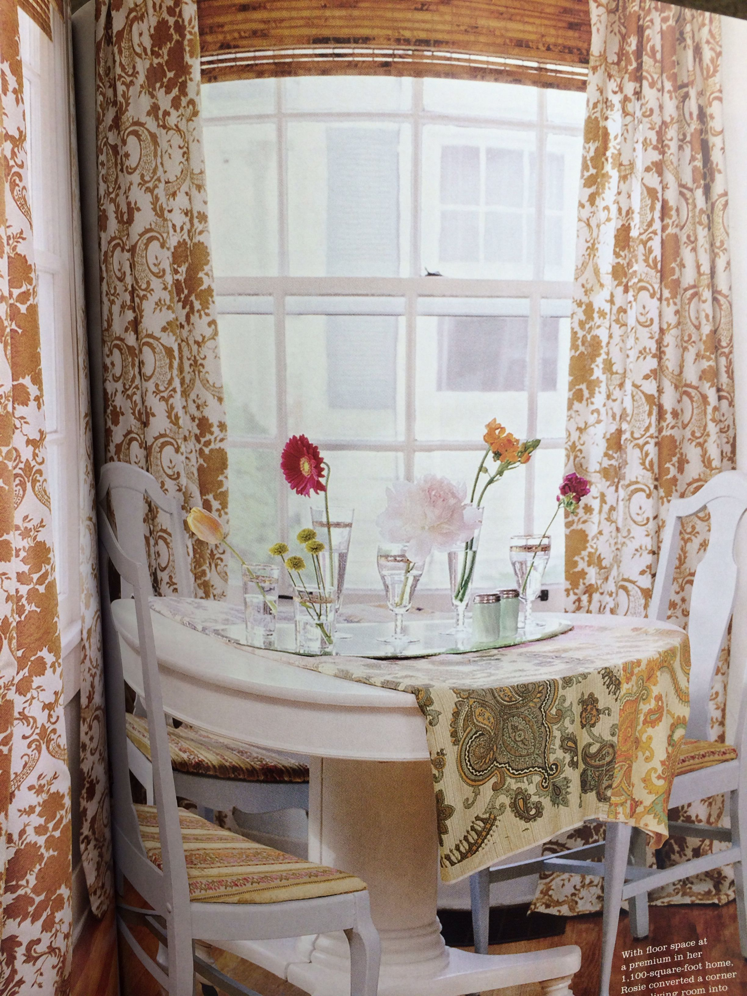 From cottage style mag bamboo blinds with mustardgold tone and